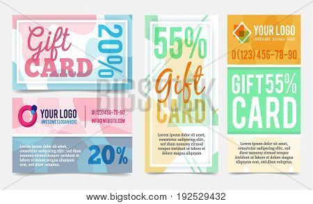 Abstract geometric gift cards design templates set. Vector discount coupons in minimalistic style. Vouchers mock ups