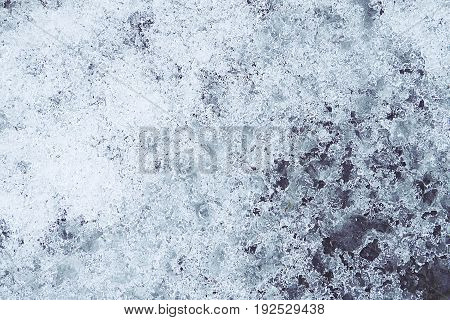texture of blue melting ice frosty background