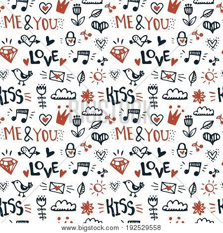 Doodle hand drawn seamless pattern. Cute elements romantic vector background