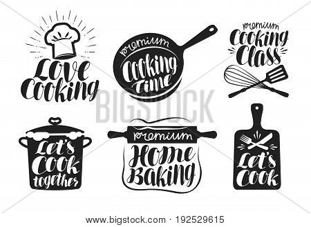 Cooking label set. Cook, food, eat, home baking icon or logo. Lettering, calligraphy vector illustration isolated on white background