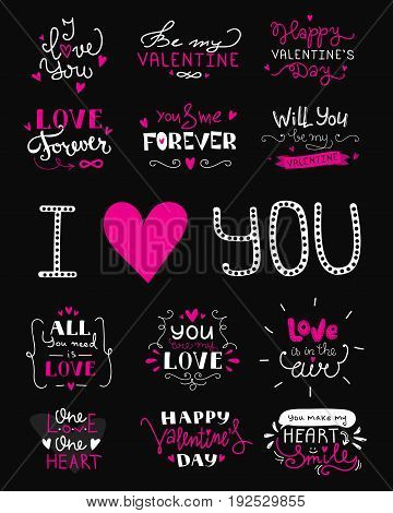 St. Valentine's Day hand lettered love confession greeting labels. Vector love lettering collection