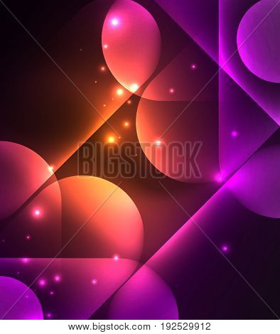 glowing geometric shapes - round elements and circles on dark background