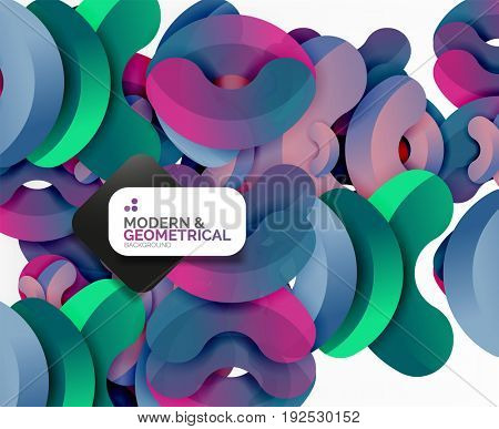 Abstract color geometric round shapes on white - elements with shadow, colorful composition