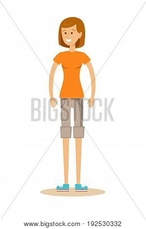 Beautiful young girl in shorts and t-shirt isolated on white. Stock vector illustration for poster, greeting card, website, ad, business presentation, advertisement design.