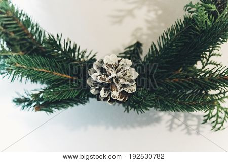 Christmas Wreath With White Pinecone. Green Fir Branch. Decorating Christmas Handmade Nordich Wreath