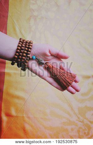 close up of wood tasbih. Wooden rosary.