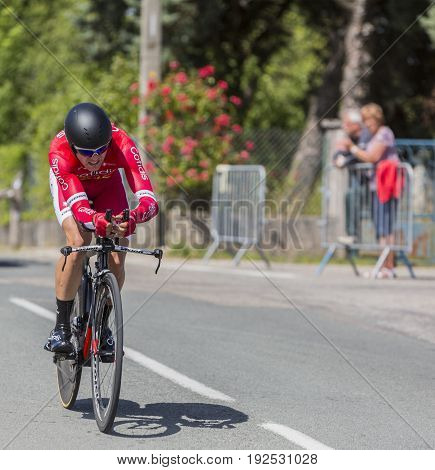Bourgoin-Jallieu France - 07 June 2017: The French cyclist Julien Simon of Cofidis Team riding during the time trial stage 4 of Criterium du Dauphine 2017. Valverde is a strong contender for the final podium of the race.