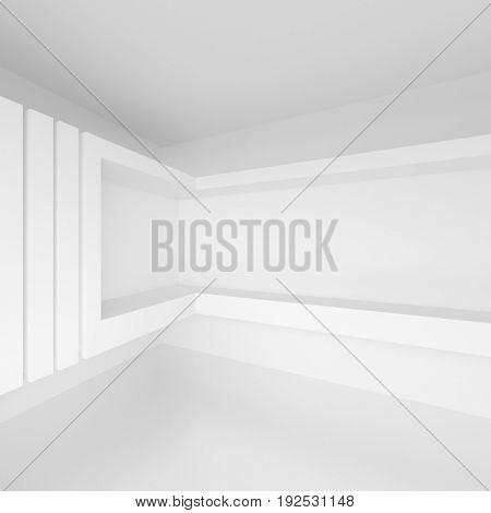 White Architecture Graphic Design. Futuristic Interior Background. 3d illustration