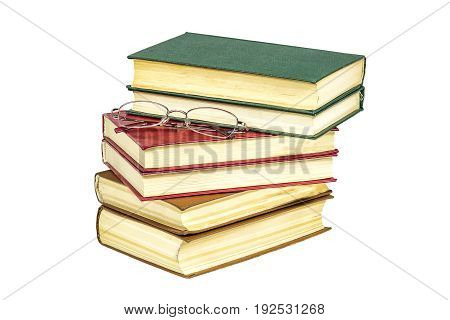 On a pile of hard-bound book lie reading glasses