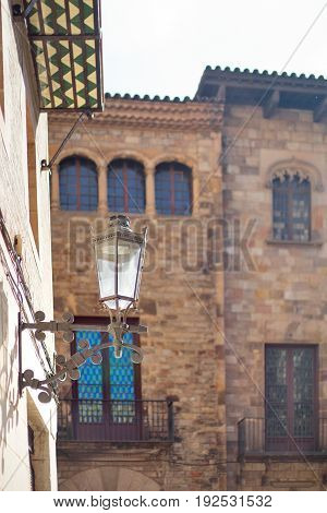 Barcelona Spain Barrigotic district - a lamp and gothic building view