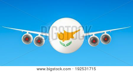 Cyprus airlines and flying's concept. 3D rendering