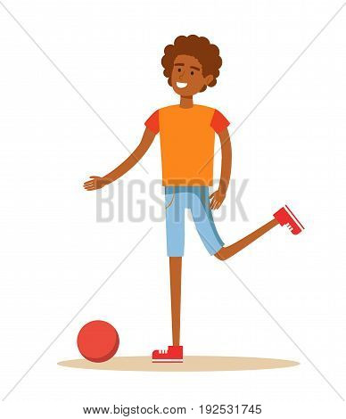 Cartoon character illustration of young African American men beating on a ball on a white background. Soccer player. Stock vector illustration for poster, greeting card, website, ad.
