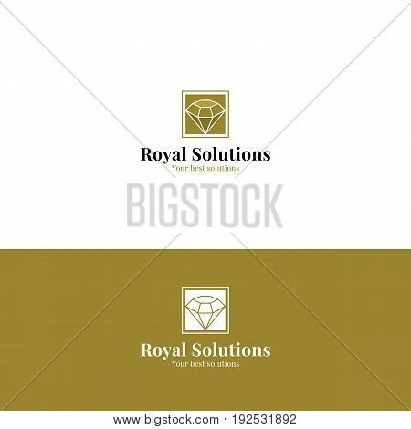 Abstract royal minimalistic logo with diamond in golden color. Vector symbol