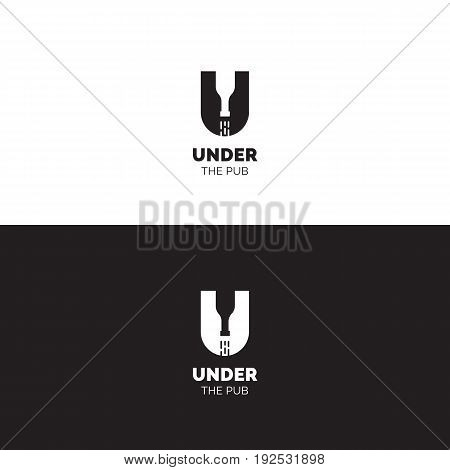 Creative negative space logo with U letter and reversed bottle. Bar and pub vector sign