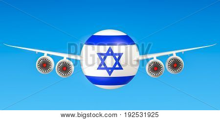Israeli airlines and flying's flights to Israel concept. 3D rendering