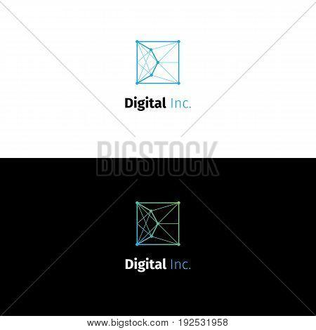 Abstract D letter node logo. Square line style vector digital studio symbol.