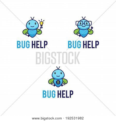 Cute mascot logos set with funny abstract fictional bugs. Insects logos: superhero bug, geek or teacher and bug with lightbulb idea icon. Cartoon characters vector illustrations.