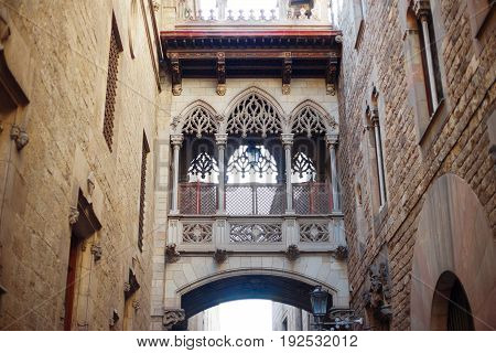 Barcelona Spain Europe - bridge of sighs in old town Barri Gotic district