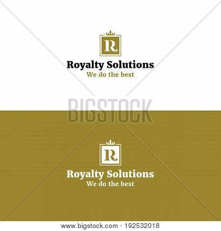 Royal abstract R letter logo with crown. Golden color luxurious vector symbol for beauty product line
