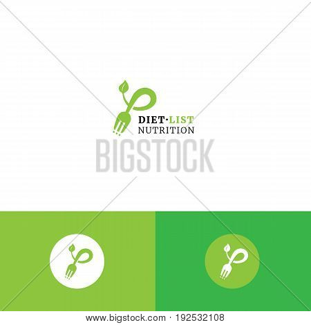 Cute fork, checklist and leaf organic logo. Diet nutrition eco shop and healthy eating consultation vector symbol