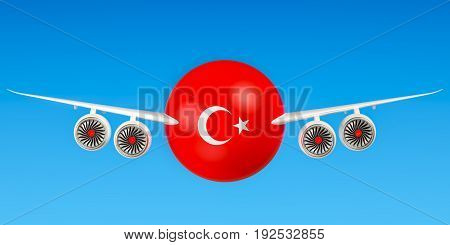 Turkish airlines and flying's flights to Turkey concept. 3D rendering