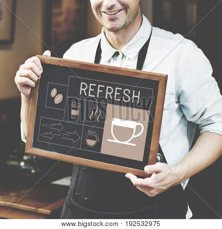 Man holding banner Illustration of coffee shop advertisement blackboard