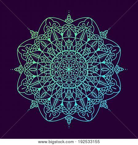 Mandala. Vintage Decorative Elements. Hand Drawn On Dark Background. Islam, Arabic, Indian, Ottoman
