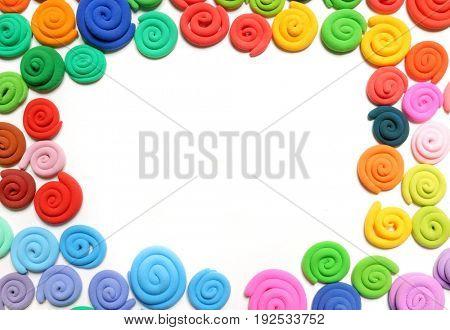 Color plasticine. Creative. Color plasticine on a white background