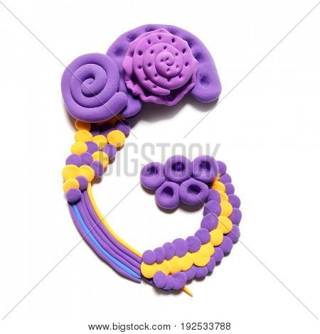 Plasticine letter C . Color plasticine alphabet, isolated.