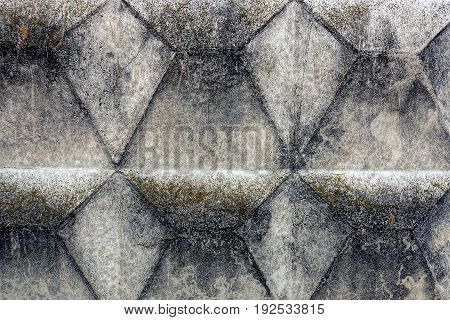 Gray black background from a part of a dirty concrete wall of a foundation of a private building