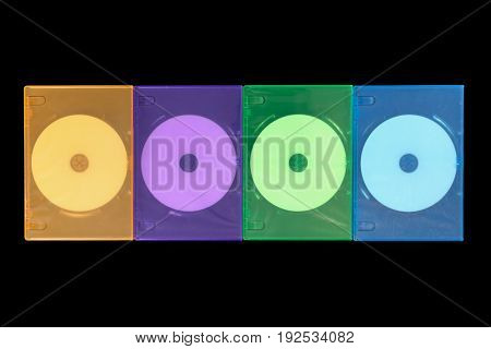 Several Colored Boxes Dvd / Cd On Black Background