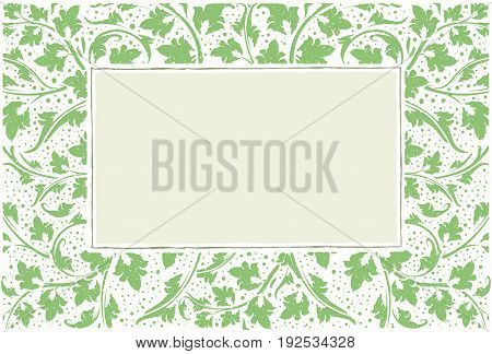 Green Frame With Collection Of Plants, Grunge Style With Drops.