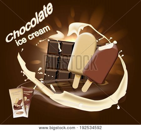 Milk chocolate ice cream with chocolate and milk on chocolate background. Vector illustration.