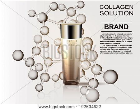 Pattern cosmetic ads, glass bottle drops of essence oil isolated on the background formula of the molecule. Vector illustration.