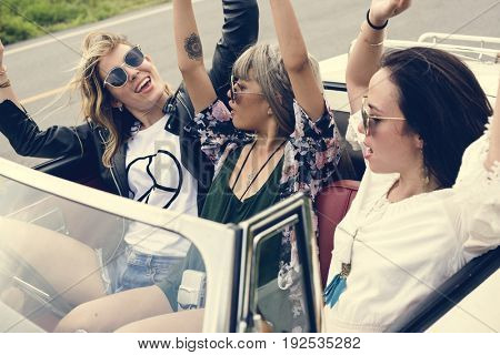 Group of Diverse Friends on Road Trip Together