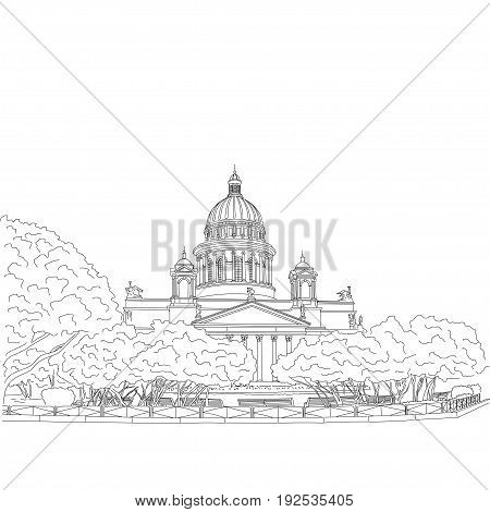 St. Isaac s Cathedral sketching on white background. Saint Petersburg, Russia. Vector illustration for your design