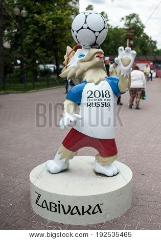 MOSCOW RUSSIA - June 24 2017 The official mascot of the 2018 FIFA World Cup and the FIFA Confederations Cup 2017 wolf Zabivaka on Sokolnicheskaya square in Moscow.