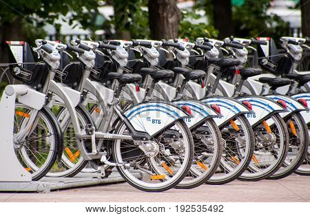 MOSCOW RUSSIA - June 24 2017 Parking Bicycle rental on Sokolnicheskaya square in Moscow.