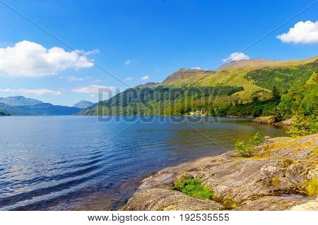 Loch Lomond at rowardennan Summer in Scotland UK