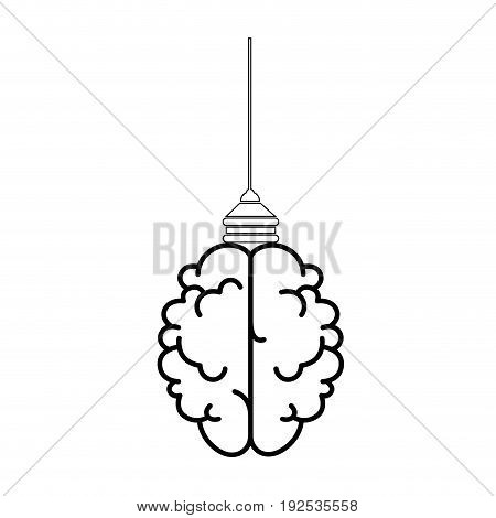 Brain hanging icon over white background vector illustration