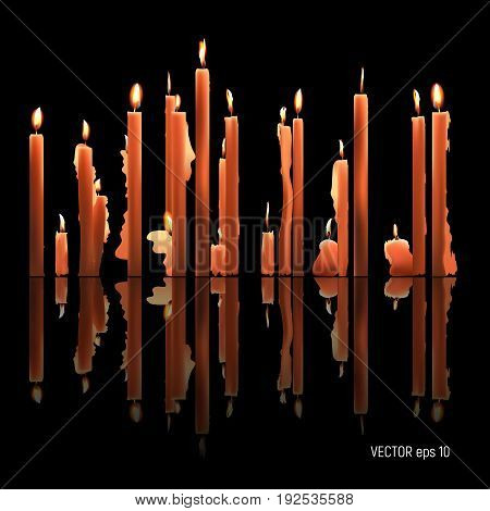 Candles burning, melting, yellow colored. Vector Illustration on dark background
