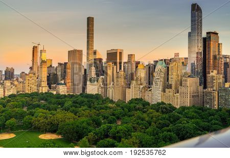 New York NY USA - June 4 2017. view of Central Park South with New York City skyline in the background