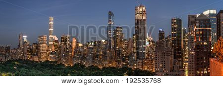 Night Scene of Central Park South Skyline with illuminted buildings