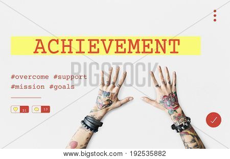 Startup new business competition plan word with tattooed hands