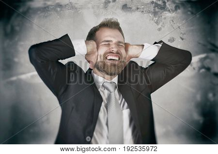 Businessman Hate His Work, Screaming And Covering His Ears