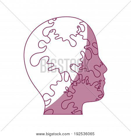 human head with splash shapes icon over white background vector illustration