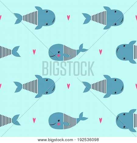 Seamless pattern with cute cartoon whales on mint green background. Vector sea background for kids. Child drawing style cartoon baby animals underwater illustration. Design for fabric, textile, decor.