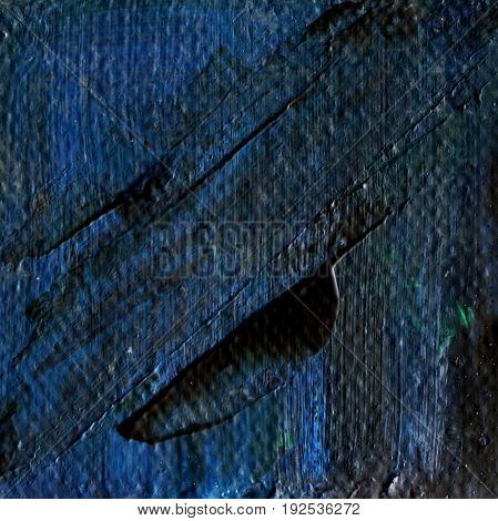 Abstract navy blue acrylic hand paint background. Part of oil painting with brush strokes. Background of detail of blue acrylic painting.