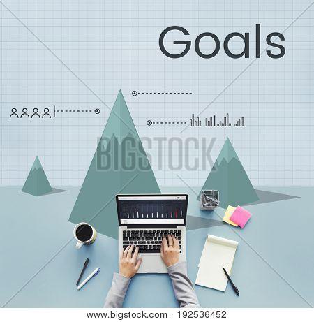 Business goals graph illustration