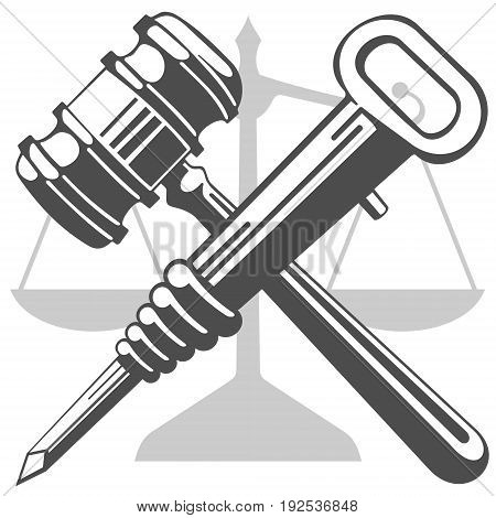 Gavel and jackhammer. Against the background of the scales there is a crossed hammer of a gavel and a jackhammer.